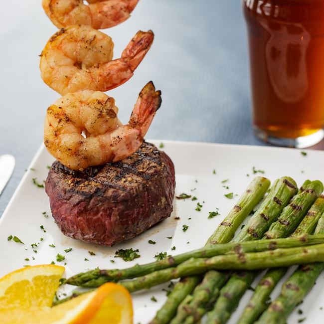 8 oz. Sirloin with 3 Jumbo Shrimp at The Boathouse