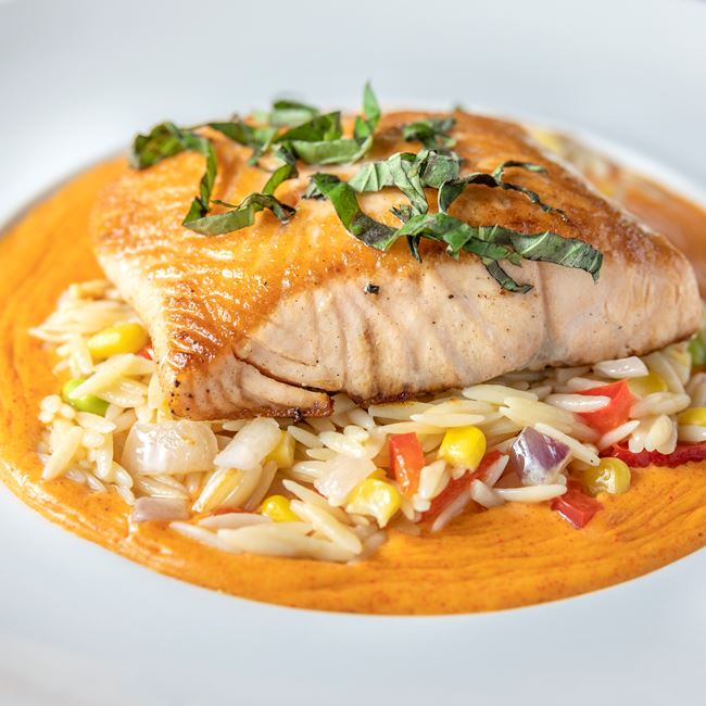 Salmon with Orzo Succotash at Fox River Brewery and Restaurant