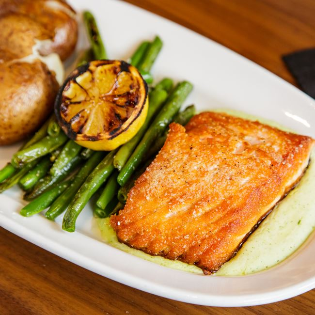 Pan-Roasted Salmon at Avenue Club and The Bubble Up Bar