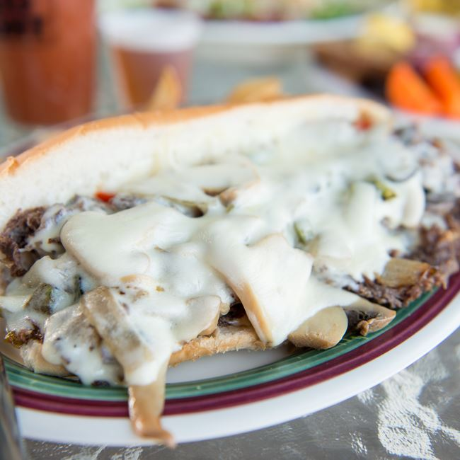 Philly Cheese Steak Sandwich at Waterfront Mary's Bar & Grill