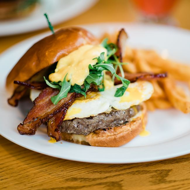 The Wake Up Burger at Junipers Gin Joint
