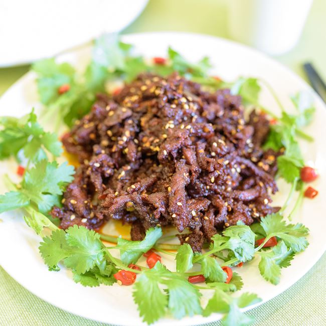Szechuan Style Spicy Shredded Beef at Chia Shiang