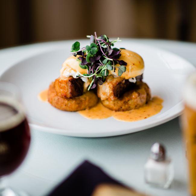 Potato Latke Benedict at Whistling Swan Inn & Restaurant