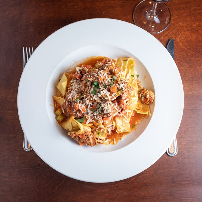 Pork Ragu Pappardelle at Gardina's Wine Bar and Cafe