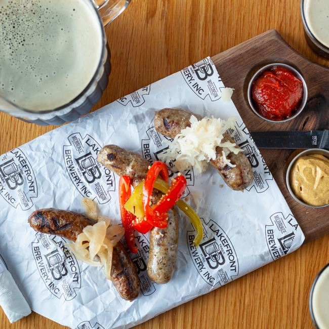 Sausage Flights at Lakefront Brewery