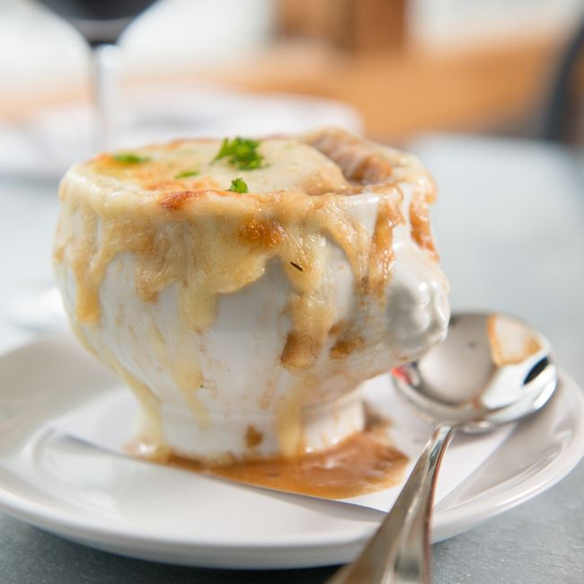 Baked French Onion Soup at Chives Door County