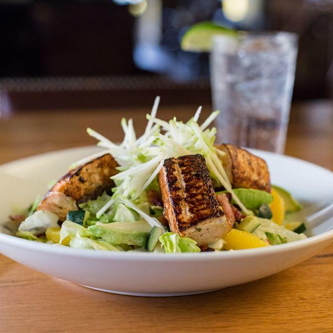 Orange Glazed Salmon Salad at Miller Time Pub & Grill