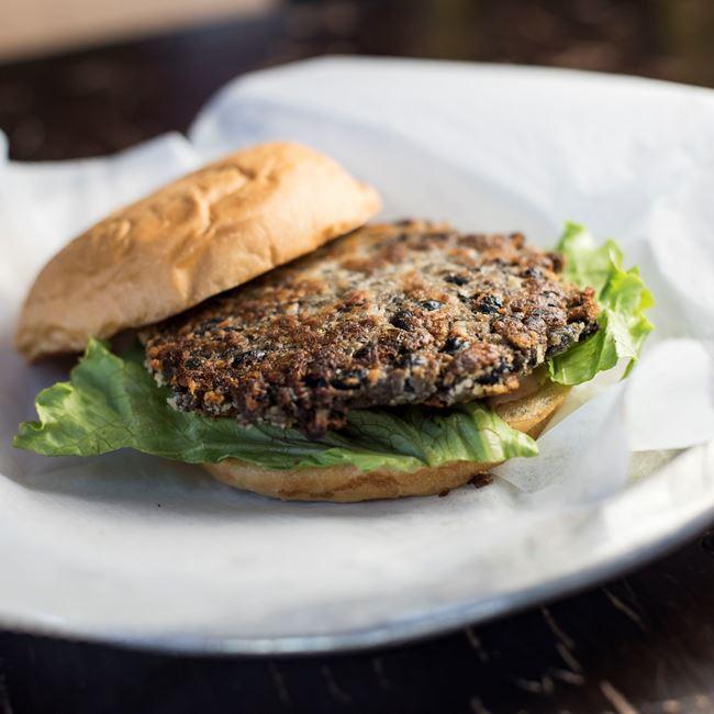 Housemade Black Bean Burger at AJ Bombers