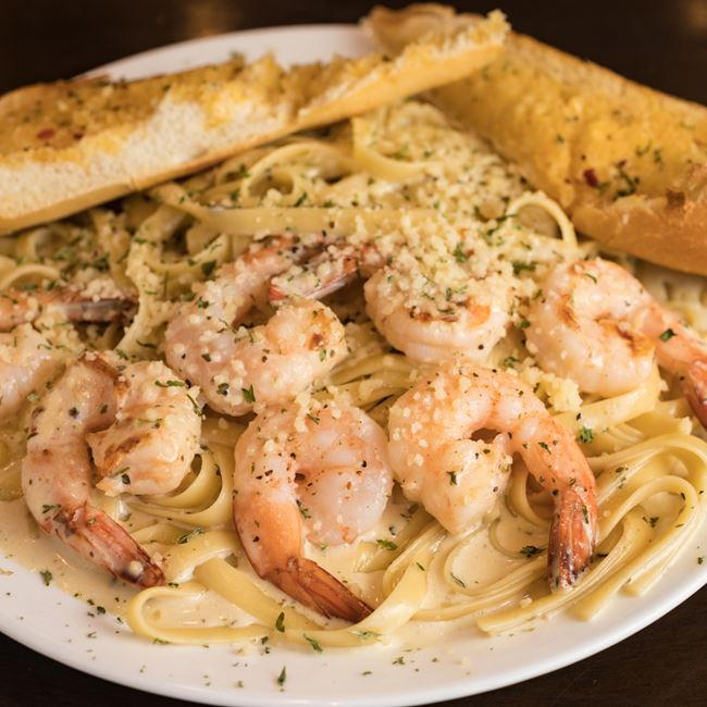 Alfredo Pasta with Shrimp at Knights Express Pizza & Grill