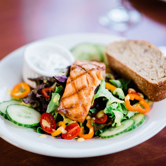 Grilled Salmon Salad at White Gull Inn