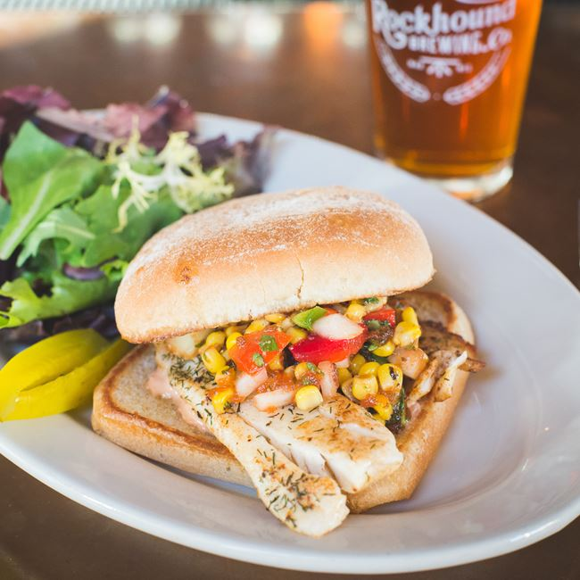 Tilapia Sandwich at Rockhound Brewing Company