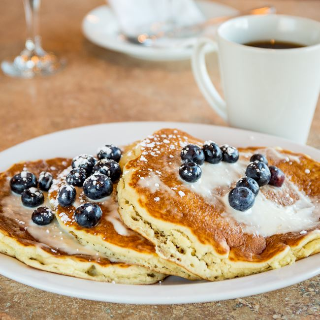 Blueberry Pancakes at Sofra Family Bistro