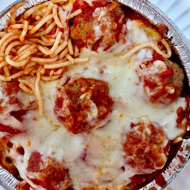 Baked Spaghetti at Valentino's Italian Pizzeria