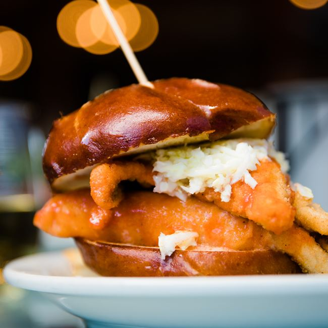 Herr Red Hot Perch Sandwich at The Mill Supper Club