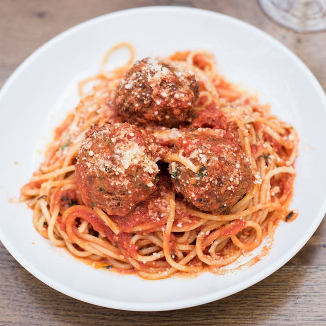 Spaghetti & Meatballs at Pizza Man