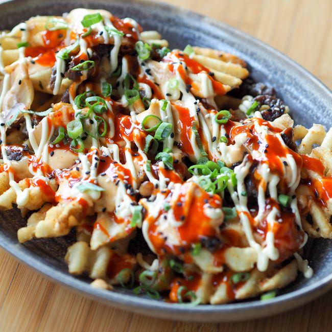 Super Extra Togarashi Waffle Fries at Sujeo