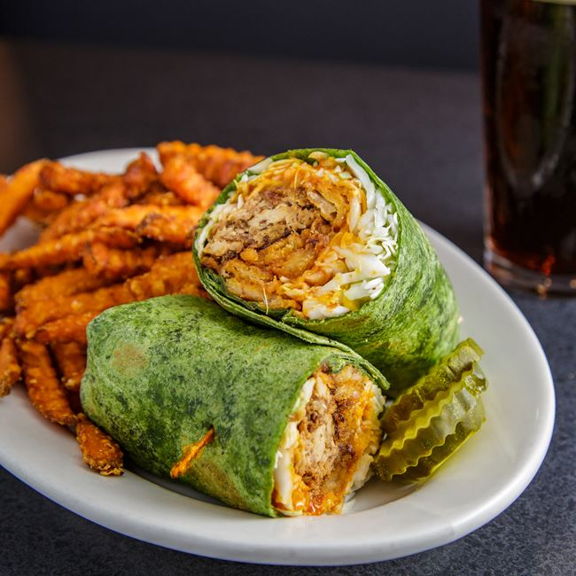 BBQ Chicken Wrap at Monk's Bar & Grill