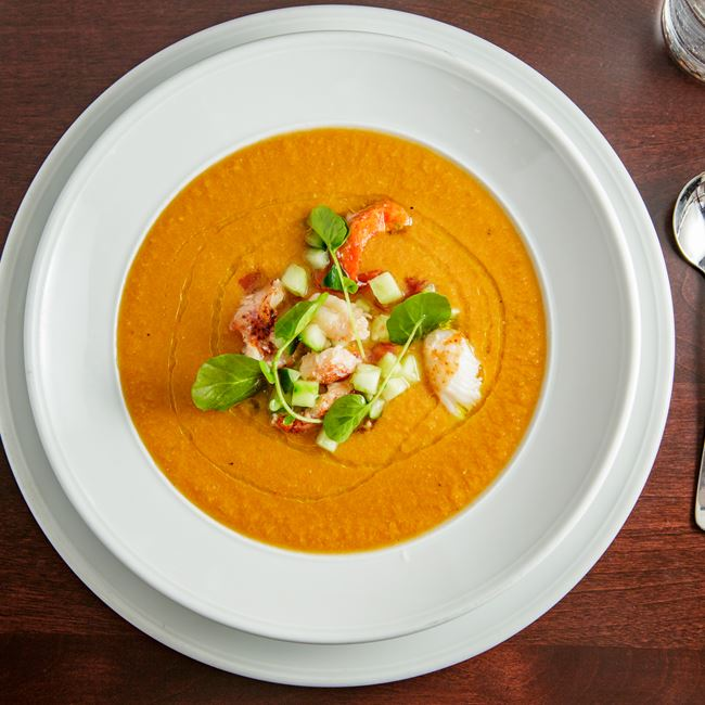 Heirloom Tomato and Lobster Gazpacho at Mason Street Grill