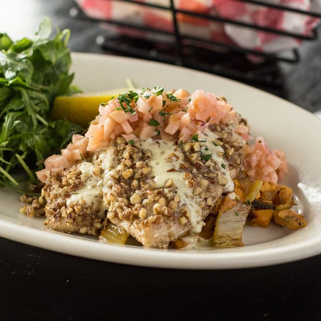 Pecan-crusted Rushing Waters Trout Filets at Maxie's