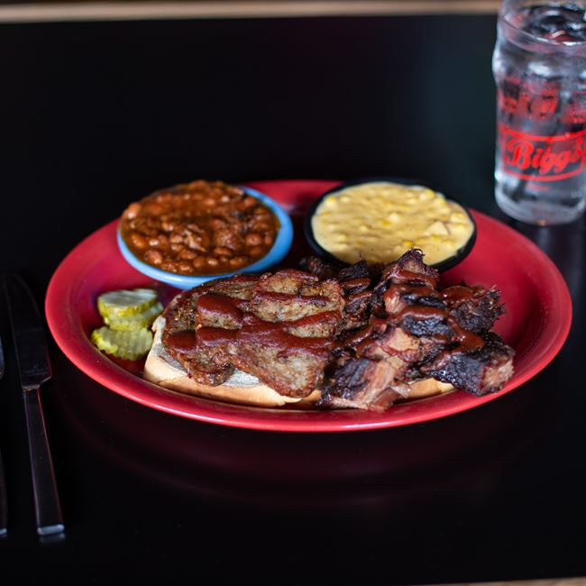 2 Meat Combination Plate with Italian Sausage & Burnt Ends at Bigg's Barbecue