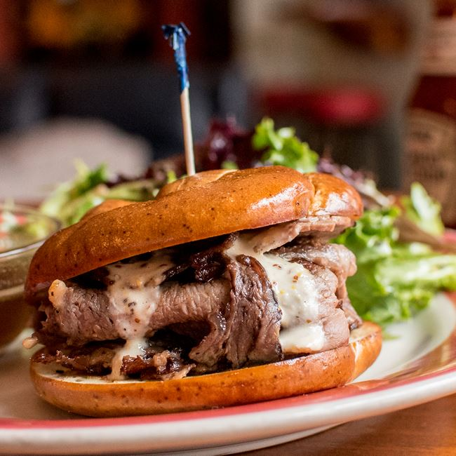 Prime Rib Sandwich at Mid Town Pub