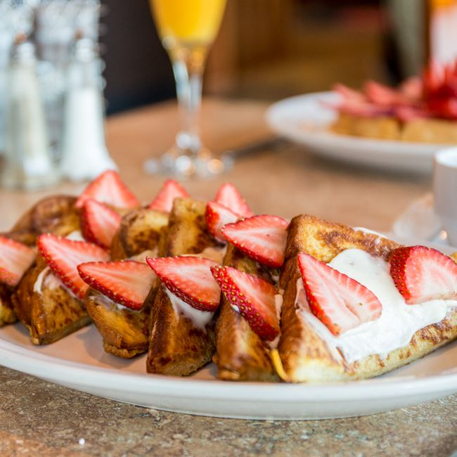 Strawberry French Toast at Sofra Family Bistro