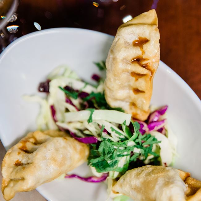 Crispy Pork Potstickers at Root Bistro & Wine Bar