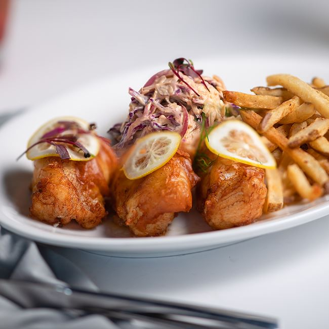 Beer Battered Cod at The Vue - Waterfront Dining & Bar