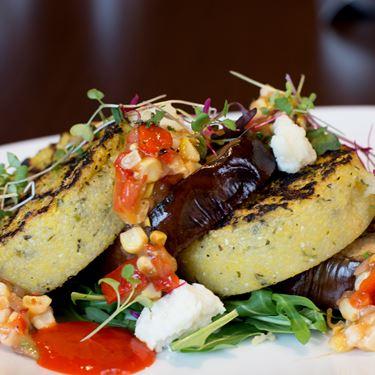 Grilled Polenta & Eggplant Stack