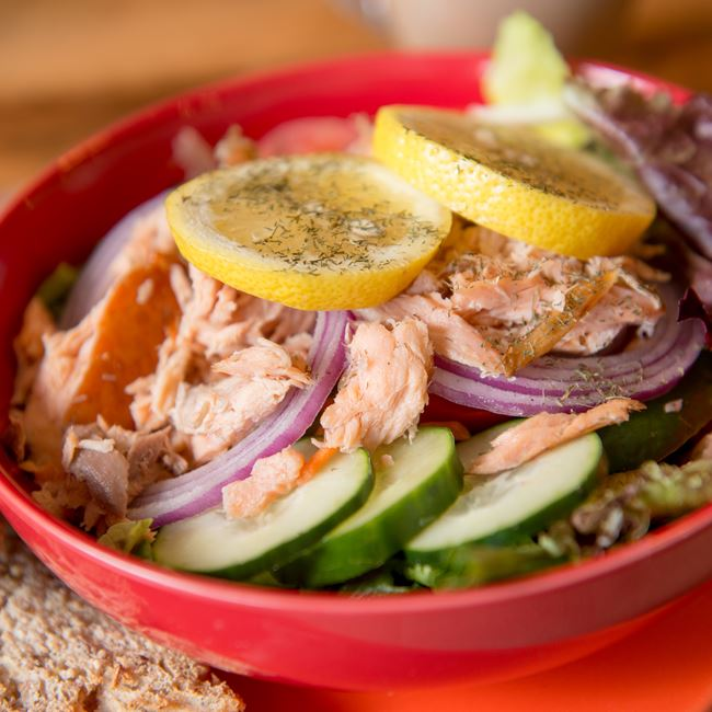 Wisconsin Smoked Salmon Salad at Door County Coffee & Tea Co.