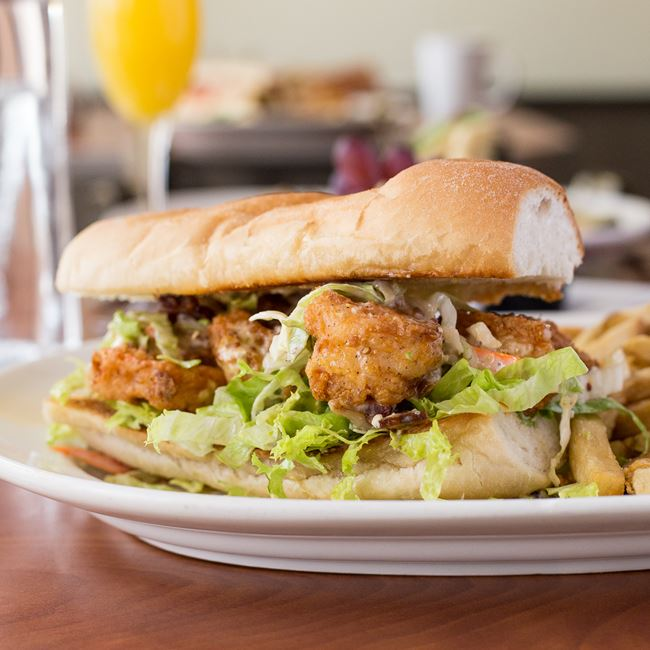 Fried Shrimp Sandwich at Blue's Egg