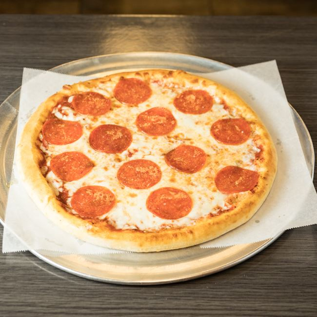 Pepperoni Pizza at 25 Burgers & Pizza