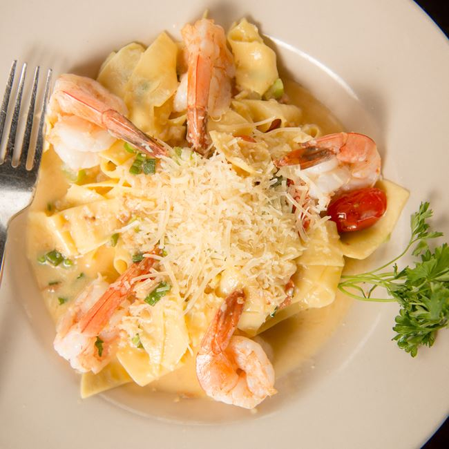 Shrimp Scampi Pappardelle at Cedar Crossing Restaurant and Bar