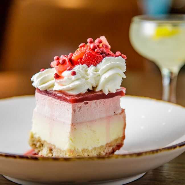 Strawberry Cheesecake at The Corner Office Restaurant + Martini Bar