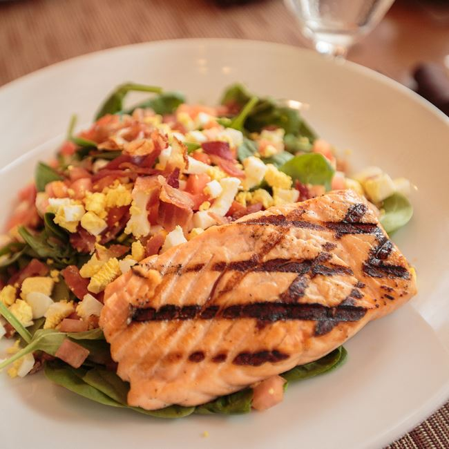 Grilled Salmon Salad at Café at the Pfister