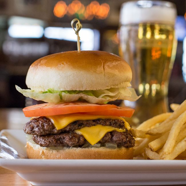 The Classic Burger at Miller Time Pub & Grill