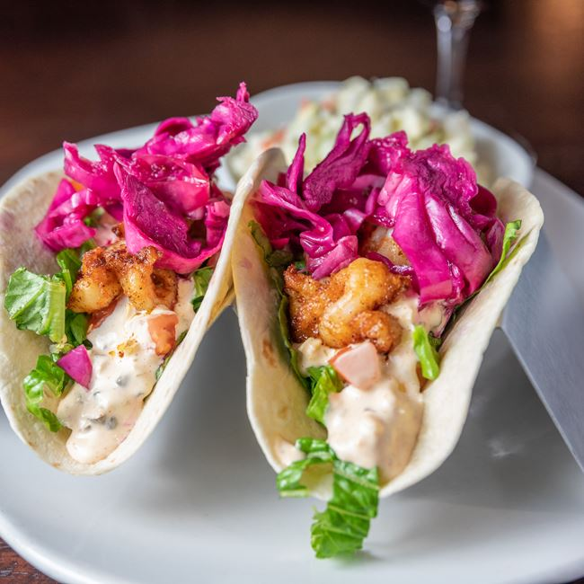 Cajun Shrimp Tacos at Mahoney's Restaurant and Bar