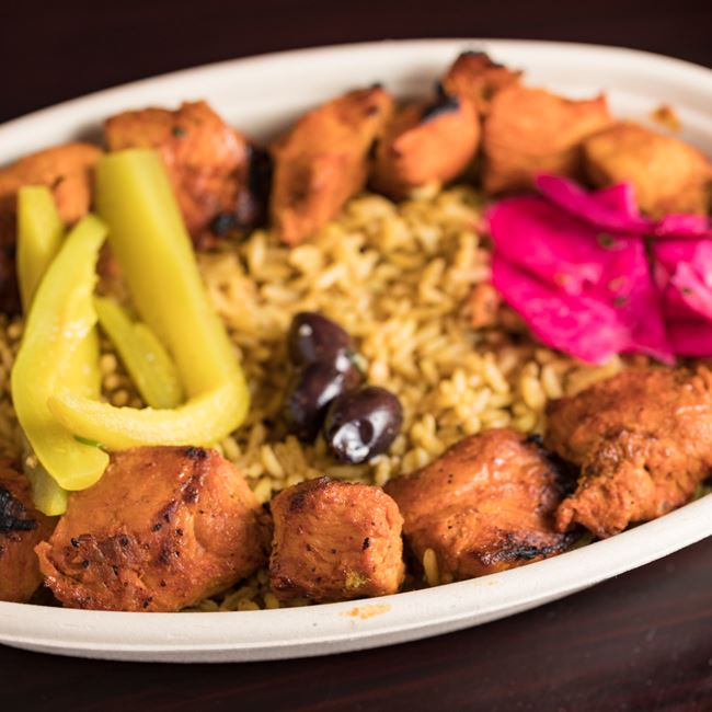 Chicken Kebob Plate at Mamoun's Falafel Restaurant