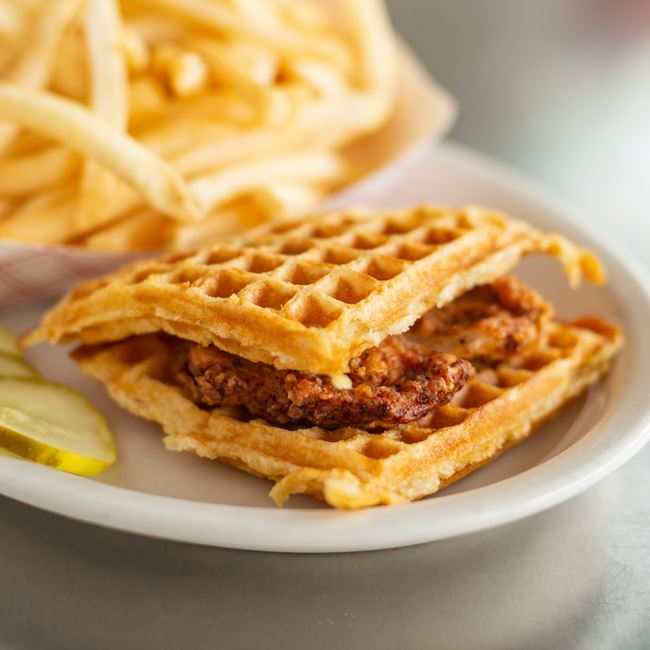 Chicken & Waffle Slider at Hunter House Hamburgers