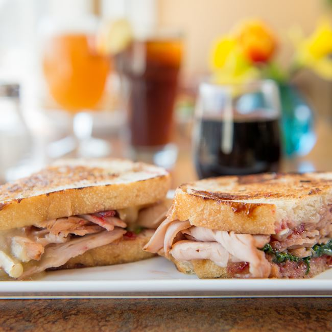 Grilled Smoked Turkey and Brie Sandwich at Bluefront Cafe
