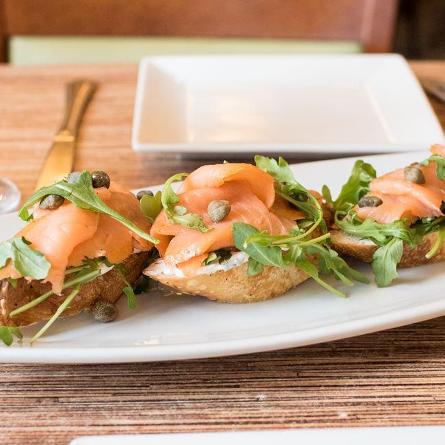 Smoked Salmon Bruschetta at Villa Dolce Cafe