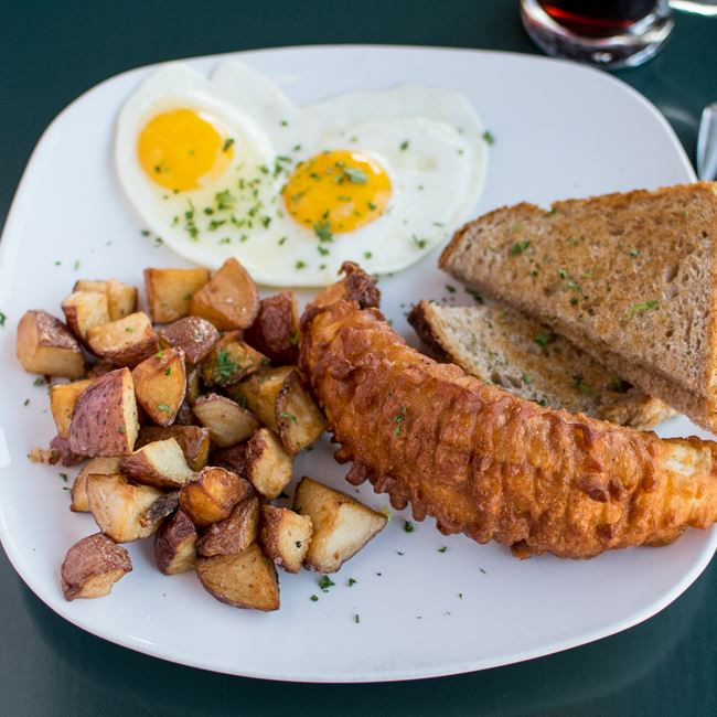 Fried Walleye & Eggs at Jacs Dining and Taphouse