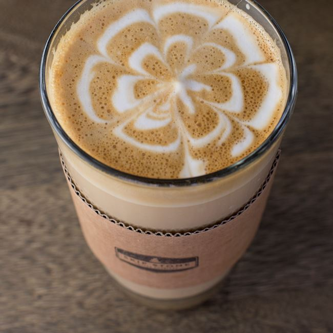 Homemade Caramel Latte at Skip Stone Coffee Roasters