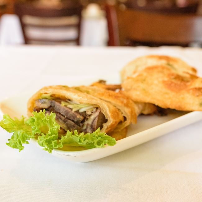 Onion Pancake Wrapped with Beef at Asian Legend