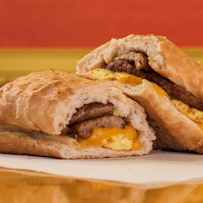 Sausage, Egg & Cheddar at Potbelly Sandwich Shop