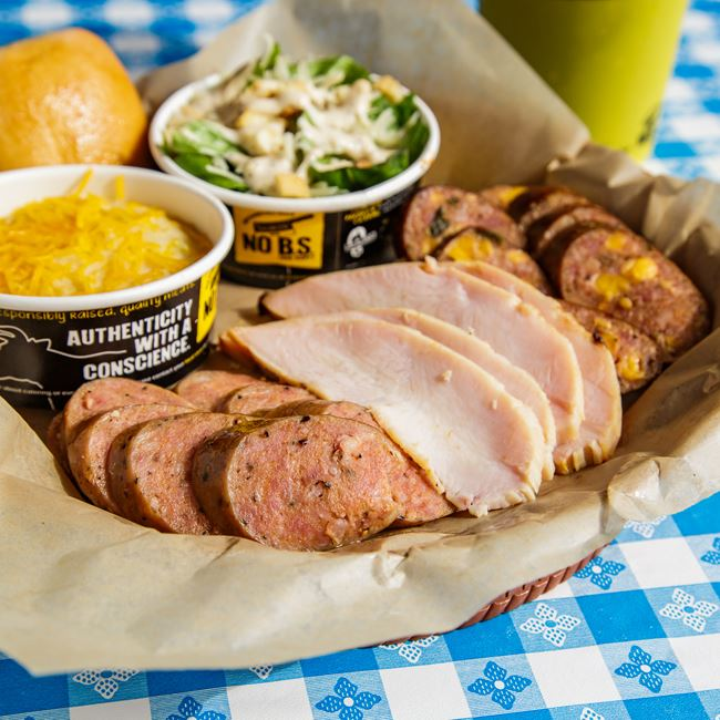3 Meat Plate with Polish Kielbasa,Turkey Breast & Jalapeno Cheddar Sausage at Dickeys Barbecue Pit