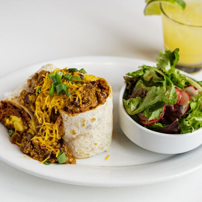 Chorizo Chili Bomb Burrito at Bassett Street Brunch Club