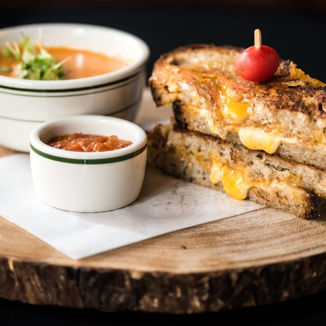 Grilled Cheese and Tomato Bisque at Luxbar