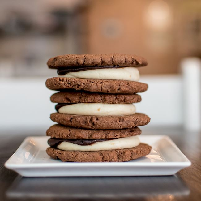 Chocolate Peanut Butter Whoopie Pies at Bloom Bake Shop