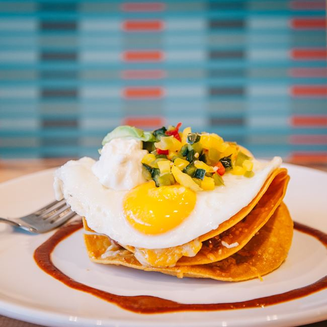 Crispy Huevos Rancheros at Four Friends Kitchen